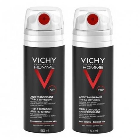 Vichy Homme Duo Pack Anti-Transpirant Triple Diffusion 72H 2x150ml pas cher, discount