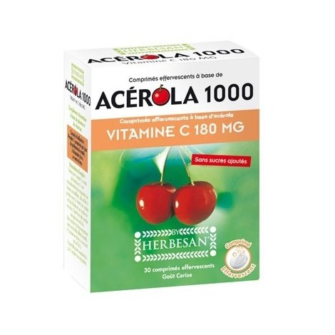 Herbesan Acérola 1000 Vitamine C 180mg 30 comprimés effervescents pas cher, discount