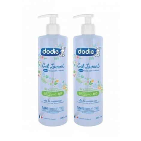 Dodie Duo Pack Gel Lavant 3en1 Visage Corps Cheveux Bébé 2x500ml pas cher, discount