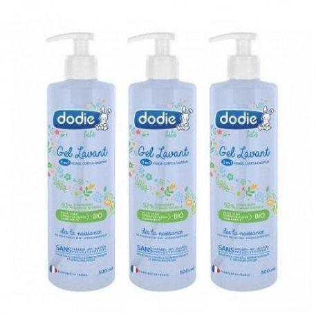 Dodie Trio Pack Gel Lavant 3en1 Visage Corps Cheveux Bébé 3x500ml pas cher, discount