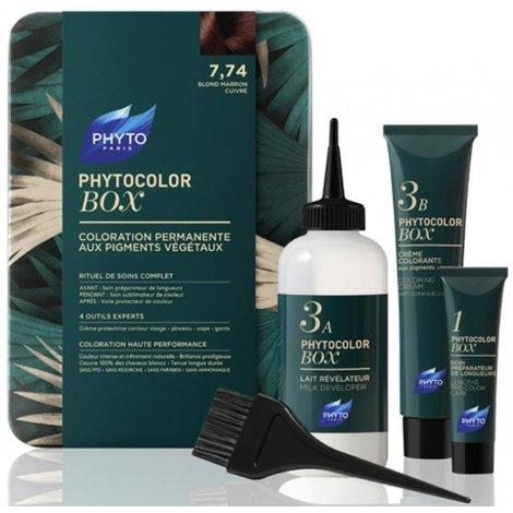 Phyto Color Box 7.74 Blond Marron Cuivré Coloration Permanente 182ml pas cher, discount