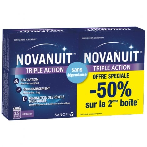 Novanuit Triple Action Duopack 2 x 30 gélules pas cher, discount