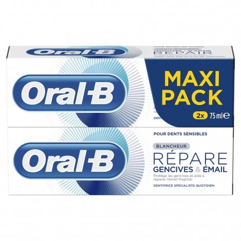 Oral B Dentifrice Gencives Email Blancheur 2x75ml pas cher, discount