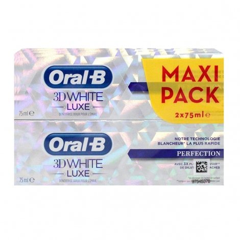Oral B Duo Pack 3D White Luxe Maxi Perfection 75ml pas cher, discount