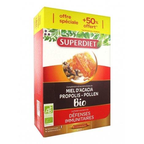 Superdiet Miel Propolis Pollen Bio 20 ampoules + 10 ampoules offertes 450ml pas cher, discount