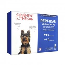 Clément Thékan Perfikan 26,8 mg/240 mg Solution Spot-On Très Petits Chiens 4 pipettes