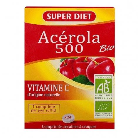 Superdiet Acérola 500 Bio 24 comprimés à croquer pas cher, discount