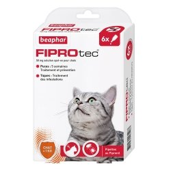 Beaphar Fiprotec Pipettes Antiparasitaires pour Chats 6x0,5ml