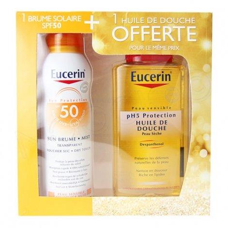 Eucerin Coffret Brume Solaire SPF50 200ml + Huile de douche 200ml OFFERTE pas cher, discount