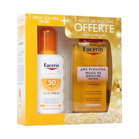 Eucerin Coffret Spray Solaire SPF50 200ml + Huile de douche 200ml OFFERTE pas cher, discount