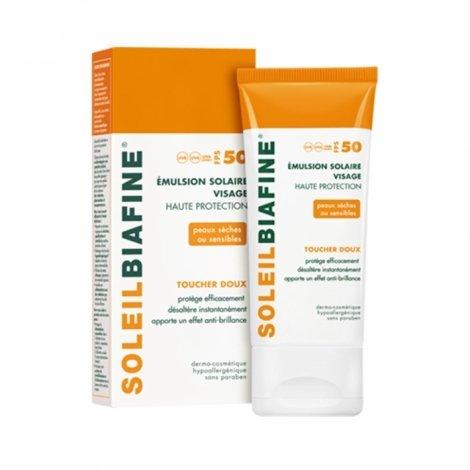 Soleil Biafine Emulsion Solaire Visage Toucher Doux SPF50 50ml pas cher, discount
