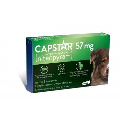 Capstar 57 mg Traitement des Infestations par les Puces Chiens de plus de 11 kg pas cher, discount