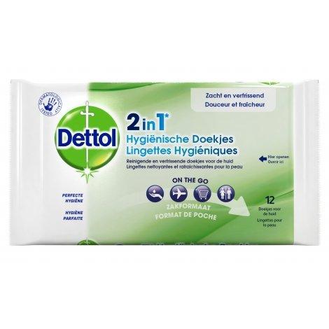 Dettol Lingettes Hygiéniques 2 en 1 12 lingettes pas cher, discount