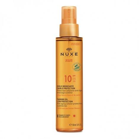 Nuxe Sun Huile Bronzante Visage et Corps SPF 10 Faible Protection 150 ml pas cher, discount