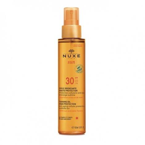 Nuxe Sun Huile Bronzante Visage et Corps SPF 30 Haute Protection 150 ml pas cher, discount
