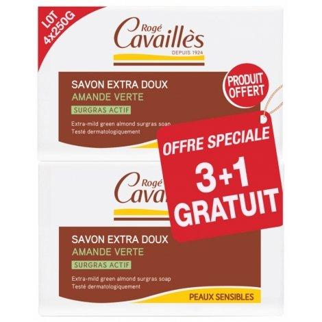 Rogé Cavailles Savons Extra-Doux Amande Verte Surgras Actif 3 x 250g + 1 OFFERT pas cher, discount
