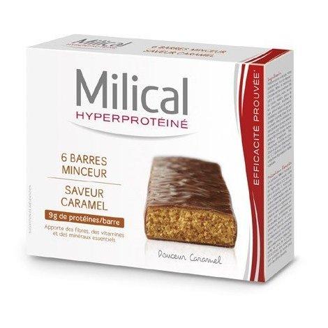 Milical Hyperprotéiné x6 Barres Minceur Saveur Caramel pas cher, discount