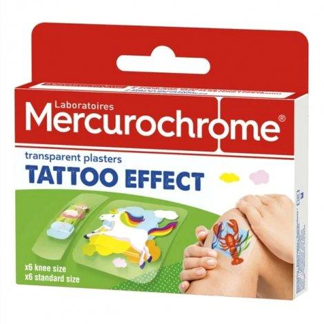 Mercurochrome Pansements Transparents Effet Tattoo 12 pièces pas cher, discount