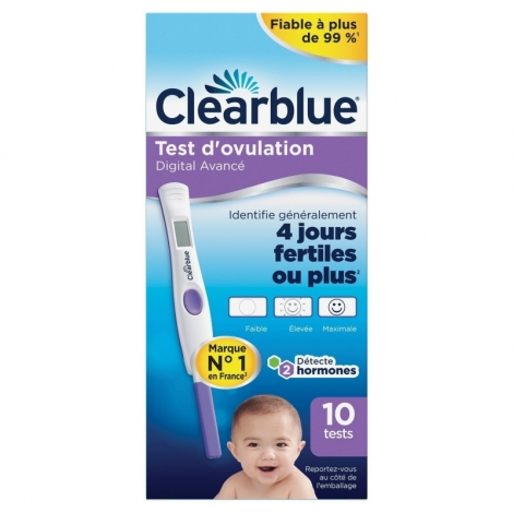 Clearblue Test d'Ovulation Digital Avancé 10 tests pas cher, discount