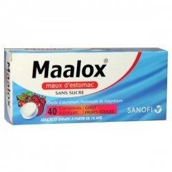 Maalox Maux d'Estomac Fruits Rouges Sans Sucre 40 Comprimés à croquer