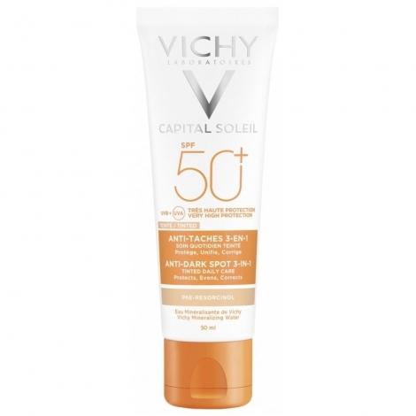 Vichy Idéal Soleil Soin Anti-Taches Teinté 3 en 1 SPF50+ 50ml pas cher, discount
