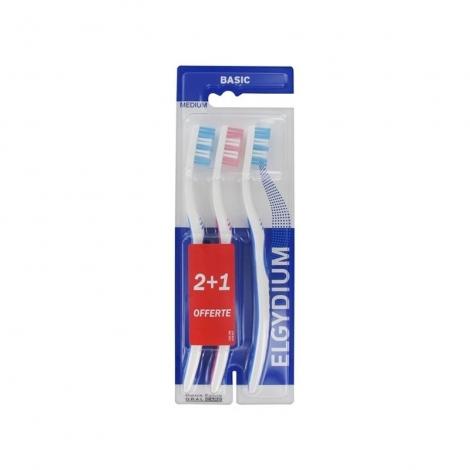 Elgydium Basic Brosse à Dents Medium 3 pièces pas cher, discount