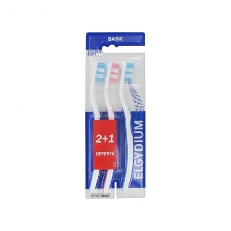 Elgydium Basic Brosse à Dents Souple 3 pièces pas cher, discount