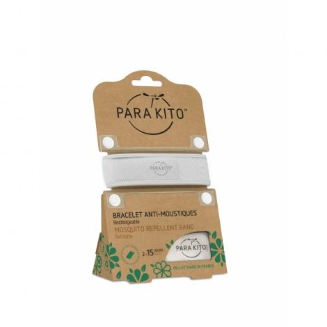 Para'Kito Bracelet Anti-Moustique Blanc Répulsif Naturel 2x15 Jours de Protection Rechargeable pas cher, discount
