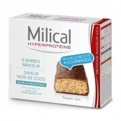 Milical Hyperprotéiné x6 Barres Minceur Saveur Coco