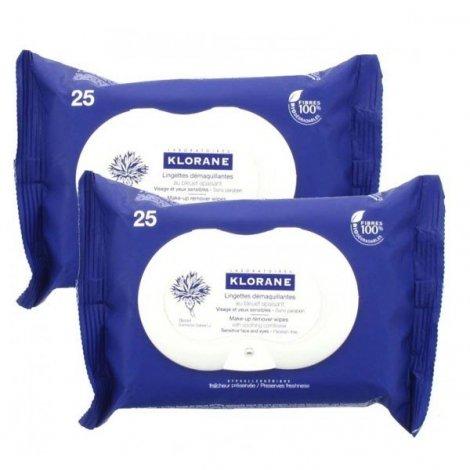 Klorane Lingettes Demaquillante Yeux  Au Bleuet Duo 25 X 2 pas cher, discount