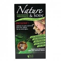 Nature et Soin Coloration Permanente Blond Clair Doré 8G 129ml pas cher, discount