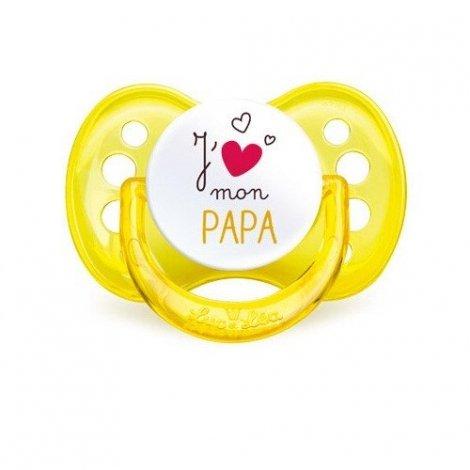 """Sucette Luc et Lea """"J'aime mon Papa"""" Silicone +6mois pas cher, discount"""