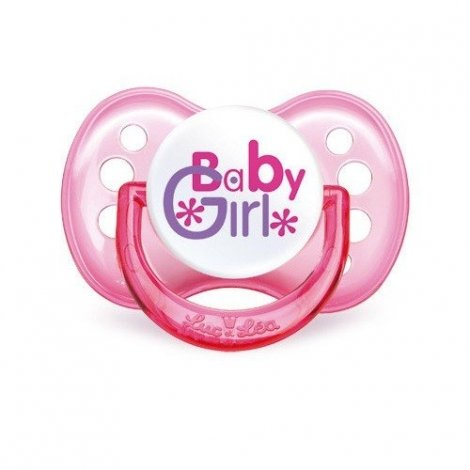 "Sucette Luc et Lea ""Baby Girl"" Silicone +6mois pas cher, discount"