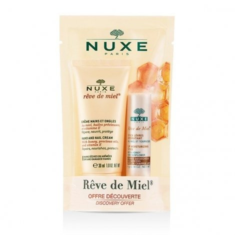Nuxe Rêve de Miel Crème Mains et Ongles 30ml + Stick Lèvres Hydratant 4g pas cher, discount